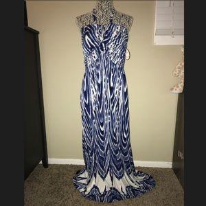 Soma blue and white halter maxi dress